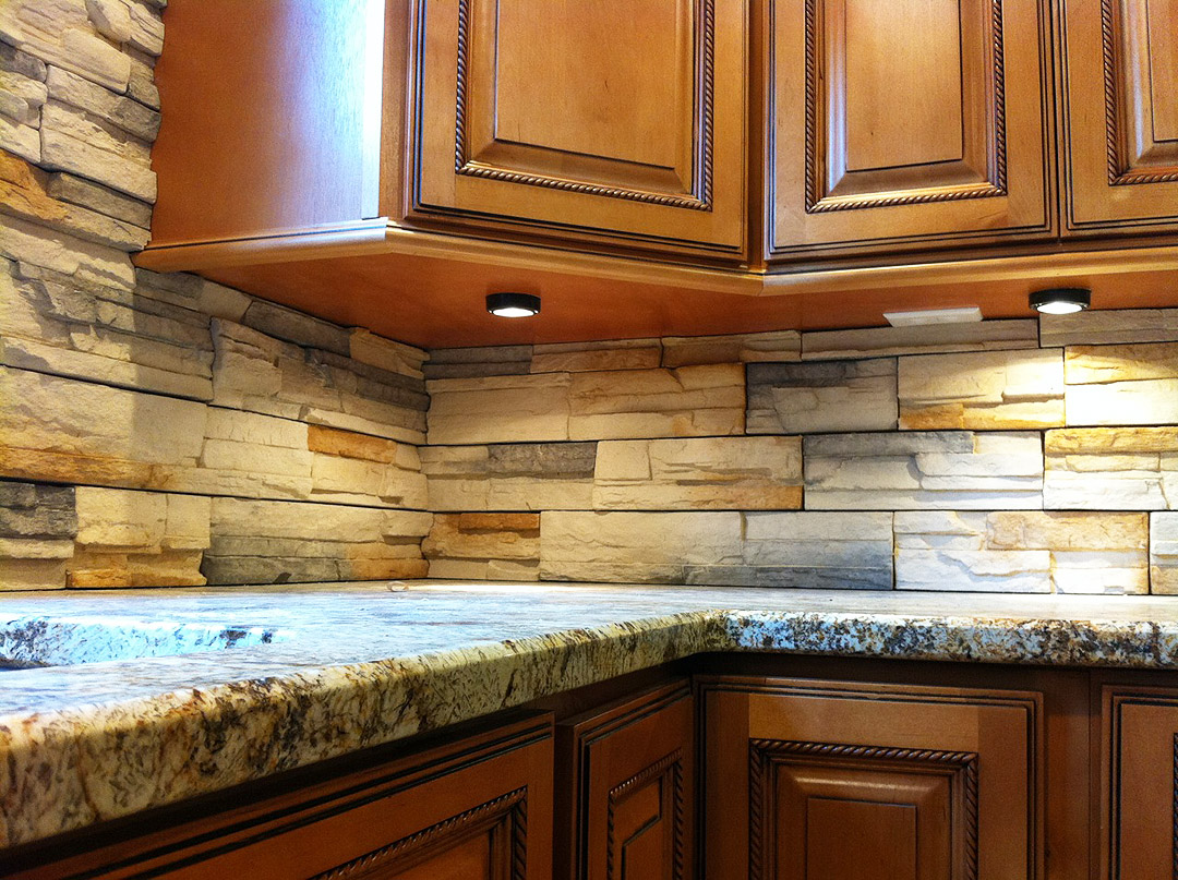 Delightful Kitchen Remodel With Medium Wood Cabinets, Under Cabinet Lighting, Under  Cabinet Outlets And Stacked