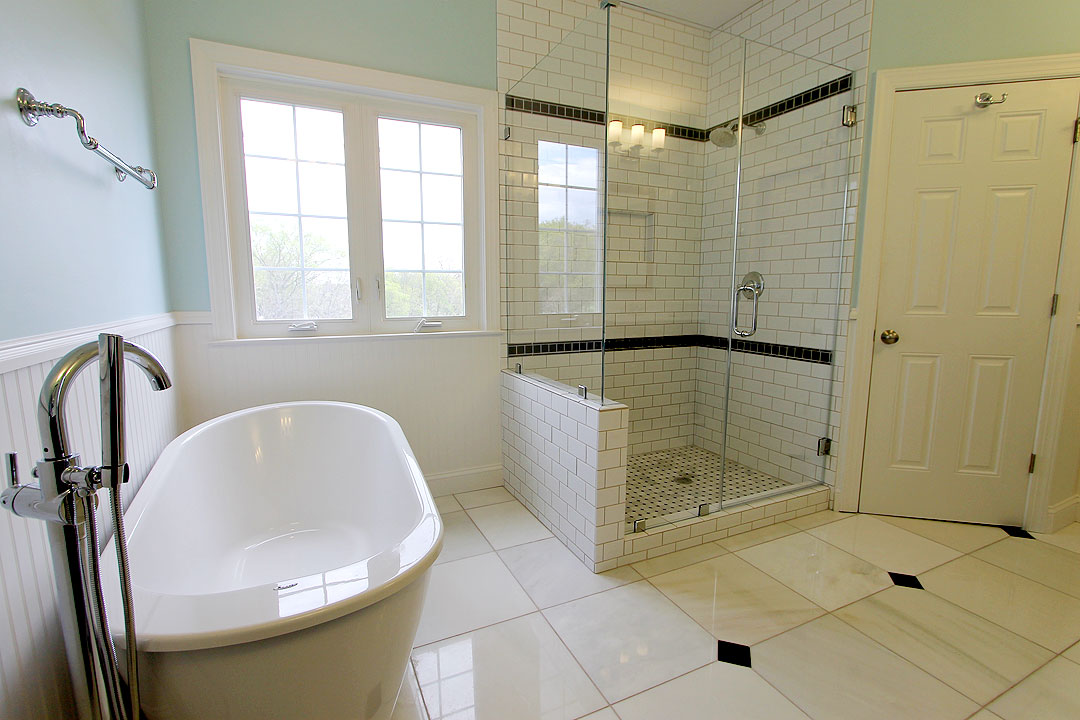 Frameless Shower Door, Shower Niche, Freestanding Tub, Marble Floor Tile,  Gainesville Va