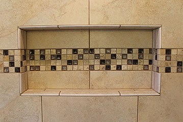 Wide Shower Niche With Decorative Strip Accent Tile